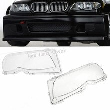 2Pcs Car Lights Headlight Lens Shell Lamp Cover Replacement Glass For BMW E46 318i/320i/ 325i/ 325xi/ 330i/330xi (2002-2005)