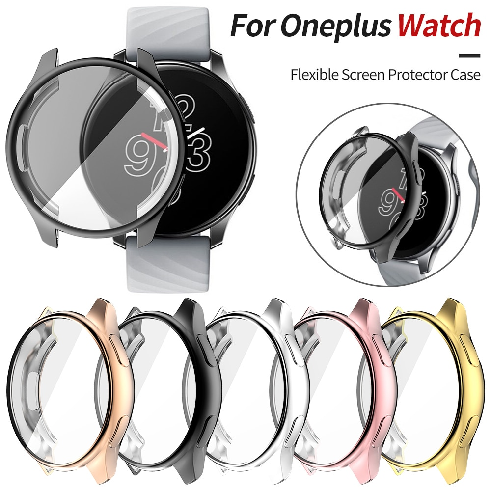 TPU Soft Protective Cover For Oneplus Watch 2021 Case Full Screen Protector Shell Bumper Plated Case