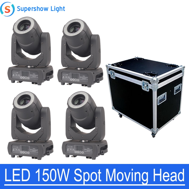 4pcs/lot High Brightness LED Moving Head Spot 150W KTV DJ Gobo Light Spot Club Night Light with Flightcase
