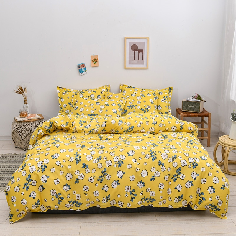 مجموعة مفروشات سرير رعوية ، غطاء لحاف بطبعة زهور مع غطاء وسادة 240x210 ، غطاء لحاف أصفر 210x210 ، غطاء بطانية بحجم كينج ، 2020