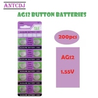 2021 hot sale ag12 200pcs20card 1 55v ag12 1 55v alkaline battery 100mah ee6213 lr43 386 sr43 260 for watch coin cell batteries