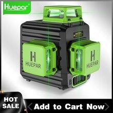 Huepar 12 라인 3D 녹색 레이저 레벨 수평 및 수직 크로스 라인 하드 케이스, 실내 및 실외로 자동 셀프 레벨링