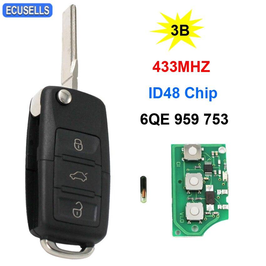 3 кнопки раскладной дистанционный умный Автомобильный ключ ID48 чип 6QE 959 753 433 МГц 6QE959753 нережущее лезвие для Volkswagen для VW Fox Sharan