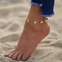 gold chain butterfly anklets for women fashion siilver color bead anklet bohemian summer beach ankle bracelet foot chain jewelry