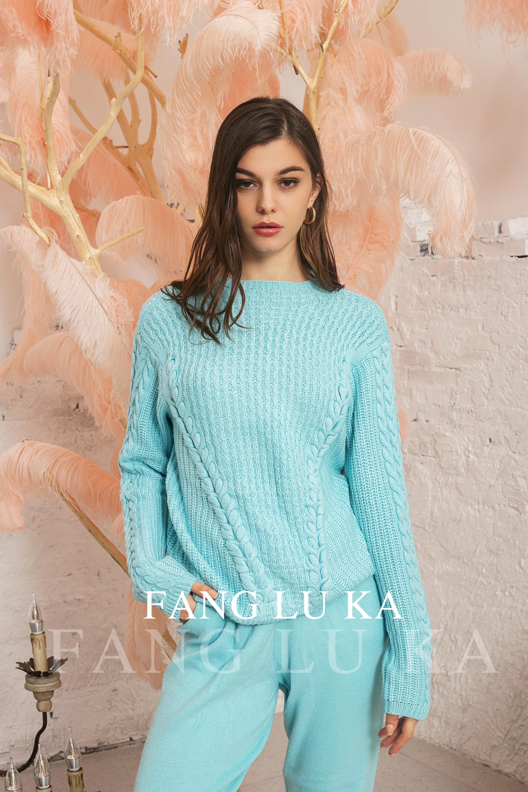 Зимний костюм/Women's Fashionable Cashmere Wool Knitted +slim high waist pants Warm Two piece enlarge