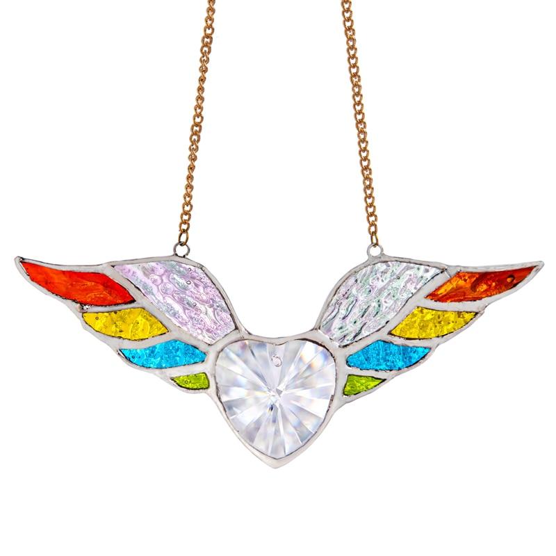 H & D الملونة أجنحة الملاك sunالماسك مع كريستال القلب بريزم الزجاج الملون نافذة معلقة الشمس الماسك سيارة Charms ديكور المنزل