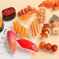 Handmade Simulated Food Refrigerator Magnets 3D Decorative Salmon Fridge Magnets for Home Kitchen Decor Sushi Message Sticker