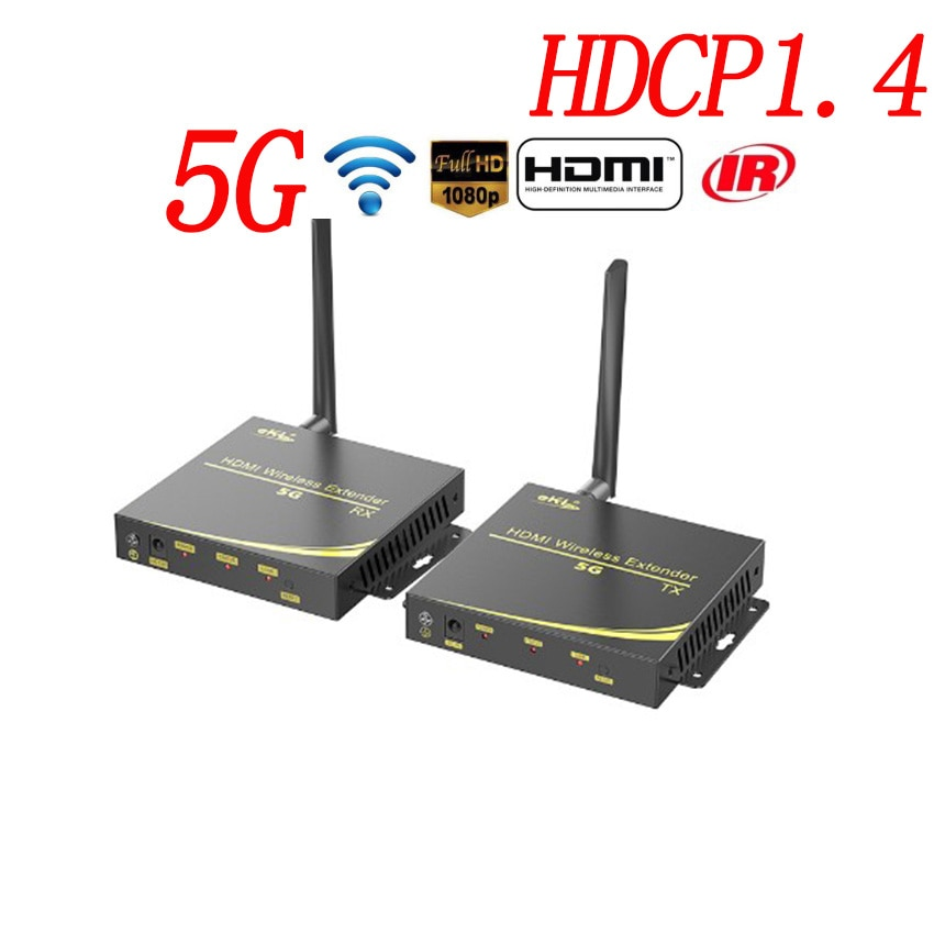 100M Wireless WiFi HDMI Transmitter Receiver 5GHZ 1080P Local Loop-out supports HDCP1.4 HDTV  With IR Remote HDMI5G Extender