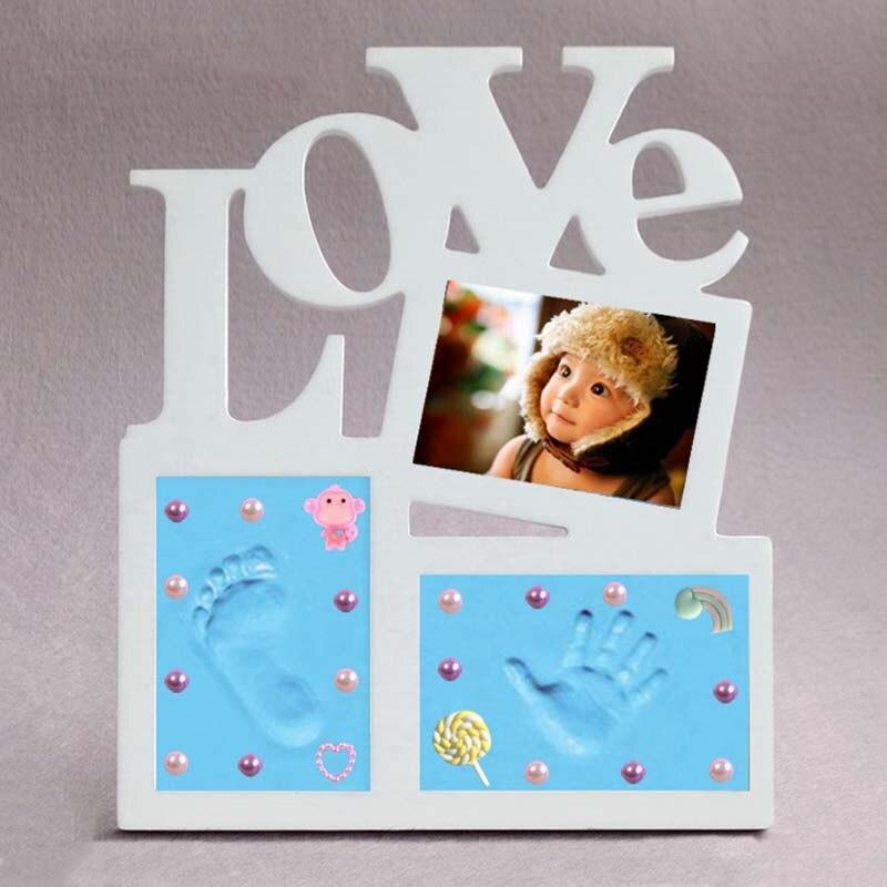 Baby Artikel Liebe Form Hand Und Fuß Druck Foto Rahmen Kind der Hand Gegossen Neugeborenen Baby Geschenke Souvenirs Formen Für gips Andenken