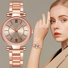 Casual Ladies Quartz Watch Roman dial romance Students Clock Fashion Stainless Steel Band Strap Luxu