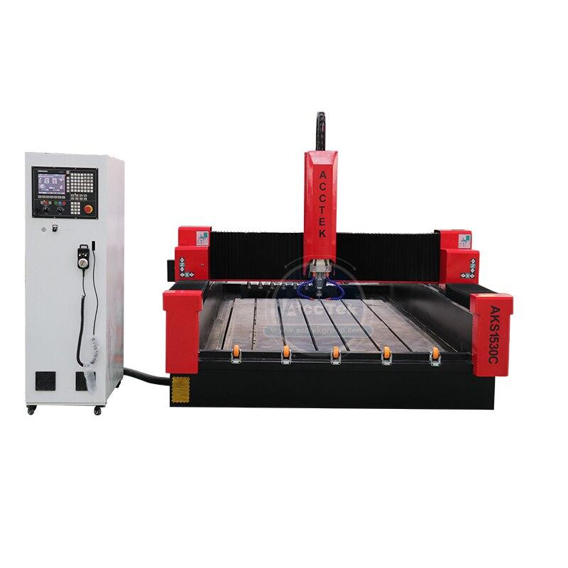 Máquina de grabado de maquinaria de piedra, enrutador cnc de marco resistente, máquina de corte de Piedra Grande AKS1530C atc