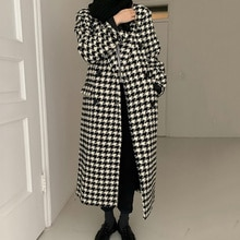 Korean Women Coat Chic French Style Suit Collar Thousand Bird Design Loose Single Breasted Long Slee