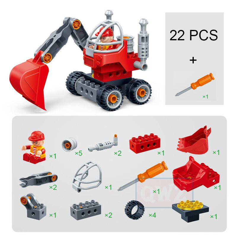 New Gifts Large Particles Children Screw Screwdriver Assembled Duploed Building Blocks Bricks Dream Factory Car Plane Engineer