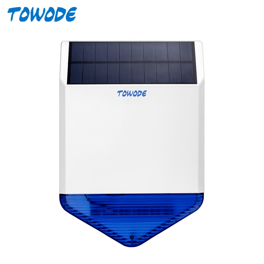 TOWODE Outdoor Solar Siren 110dB Loud Wireless Flash Strobe Waterproof Siren Energy Charge For Home Security Alarm System