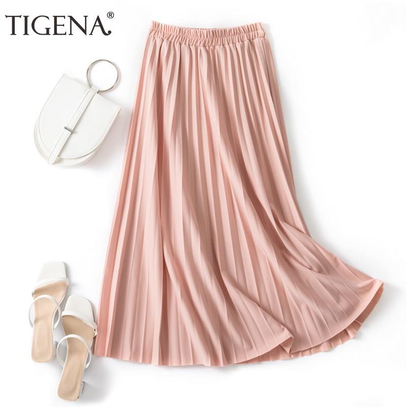 TIGENA אלגנטי ארוך קפלים חצאית נשים אופנה 2020 קיץ קוריאני פשוט סגנון גבוה מותניים בית ספר חצאית נשי ורוד ירוק חאקי