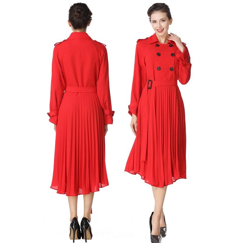 Женское длинное красное плиссированное платье с длинным рукавом, отложным воротником и поясом, элегантная уличная одежда, S-XL, весна 2019