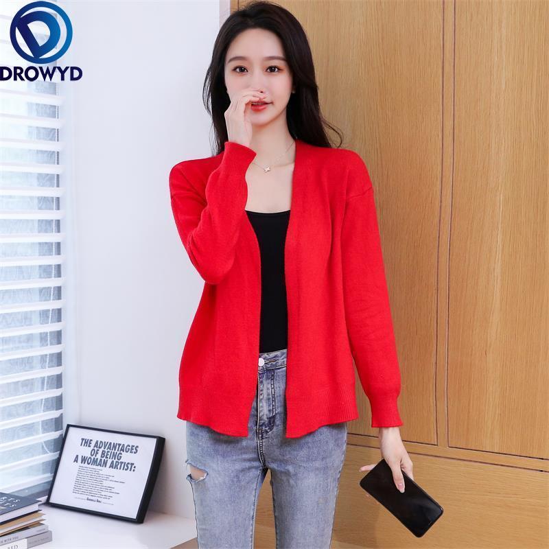 Новинка весна-осень 2021 Стильная верхняя одежда подходящая ко всему ленивая верхняя одежда красный вязаный кардиган свитер Свободная куртк...
