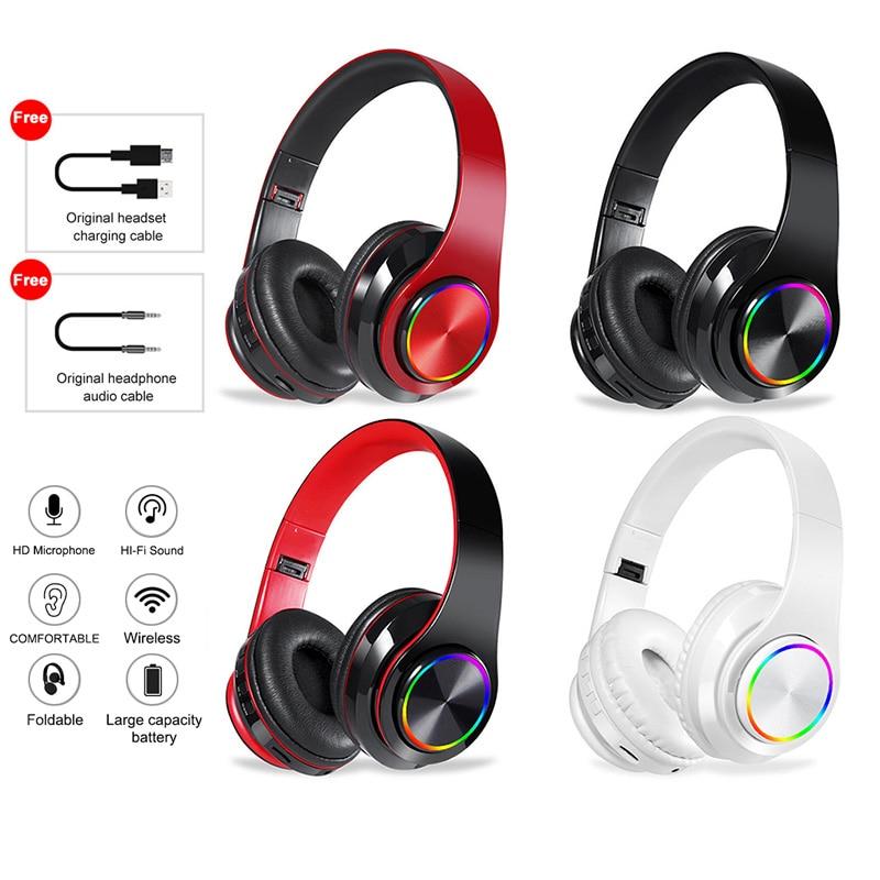 Беспроводные стереонаушники Bluetooth, Hi-Fi гарнитура с глубокими басами и микрофоном, FM-радио, поддержка SD-карты, для мобильных телефонов Xiaomi, Iphone