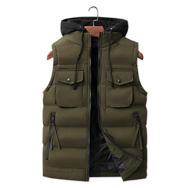 Chaleco informal cálido con capucha para hombre, chaqueta Chaleco informal de talla...