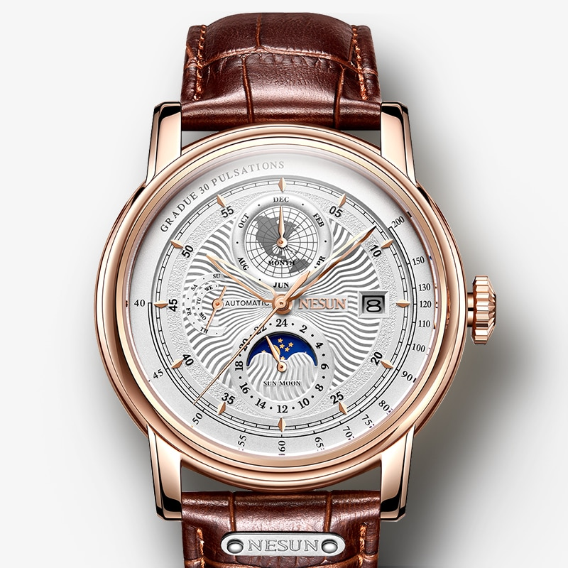 NESUN Fashion  Men's Watch Moon Phase Automatic Mechanical Watches Sports Wristwatch Waterproof Le