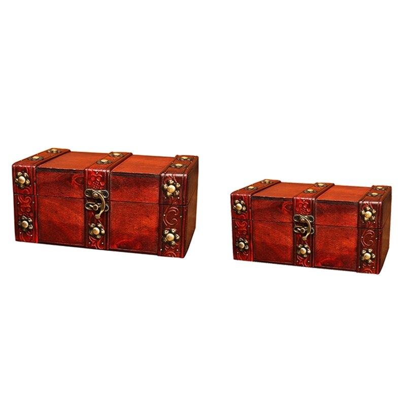Caja de madera Retro Vintage con cerradura, caja contenedor de almacenamiento, baratija, joyería, pulsera, anillo de perla, caja de madera del Tesoro, organizador de cofre