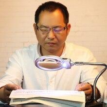 Soporte para lámpara LED iluminada, soporte para lupa, Clip para mesa, escritorio, lectura 2.25X 5X, lupa FKU66