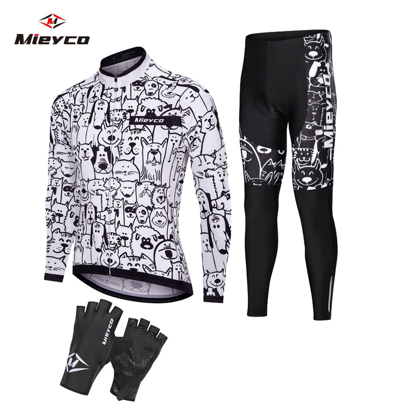 White Cartoon Cat Pro Team Cycling Jersey Set 2020 Bicycle Clothing Breathable Mens Long Sleeve Shirt Bike Bib Shorts 5D Gel Pad