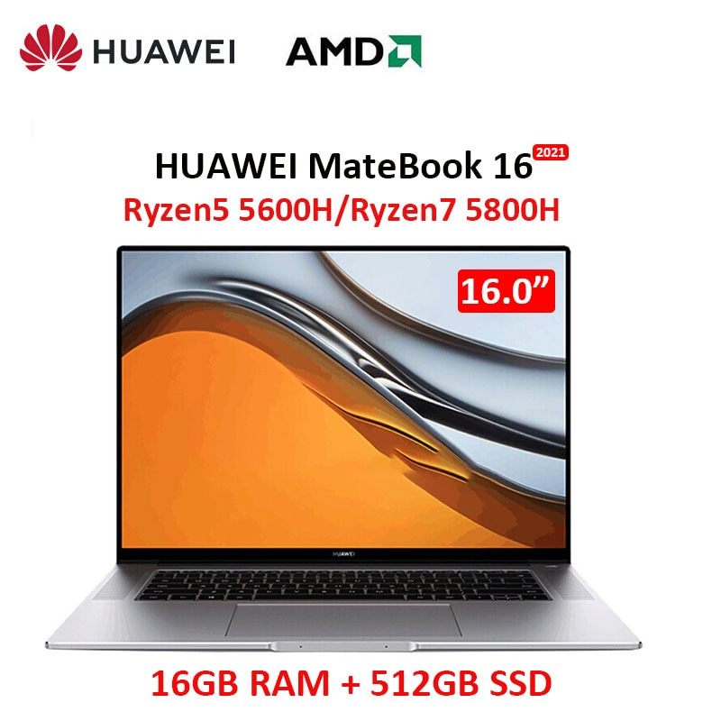 Promo Huawei MateBook 16 2021 laptop R7 5800H 16GB RAM 512GB SSD full-screen 16 inch 2.5K professional all-around screen computer touc