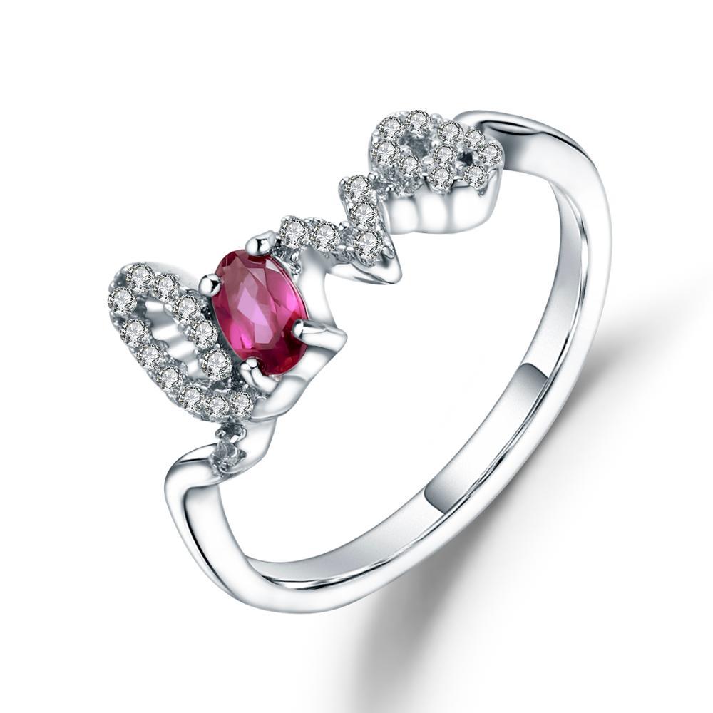 Gema BALLET Natural granate rodolita gema anillos 925 Plata de Ley amor anillo para mujer joyería de compromiso de San Valentín