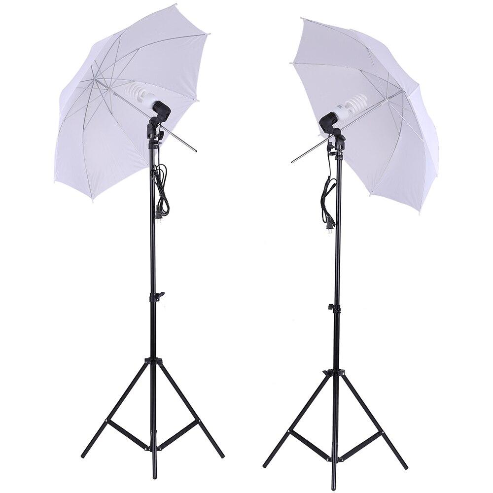 Kit de iluminación de estudio fotográfico, Set de 2 uds. De 2 metros y soporte de luz de 6,6 pies + 2 uds. De paraguas de luz suave blanca de 33 pulgadas + 2 uds. De bombilla de 45W
