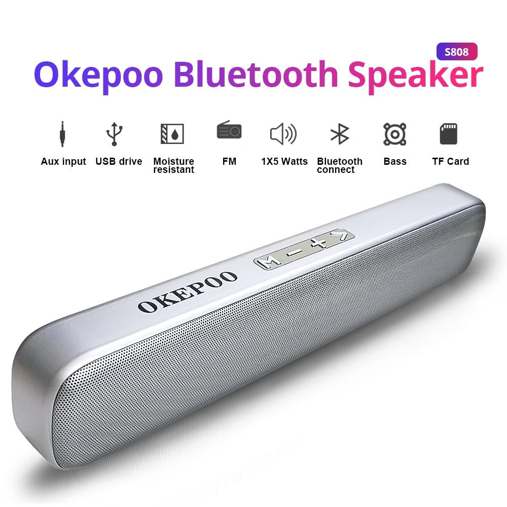 Altavoz portátil Okepoo con Bluetooth S808, compatible con micrófono, tarjeta TF, FM, AUX, batería de 2000mAh, estéreo HIFI, altavoz inalámbrico con Bluetooth