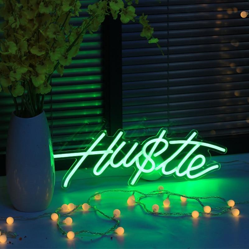 Custom Green Hustle neon sign Waterproof Flex Neon Sign Visual Art Bar Pub Club Acrylic Wall Hanging Flexible Sign decoration