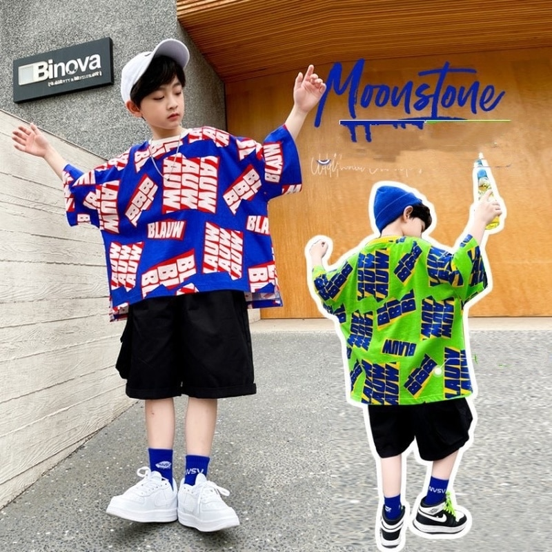 AliExpress - Boys Children's Clothing 2021 Summer Casual Fashion Loose Letter Printing Short-Sleeved T-Shirt + Pants Kids 2-Piece Suit BT171