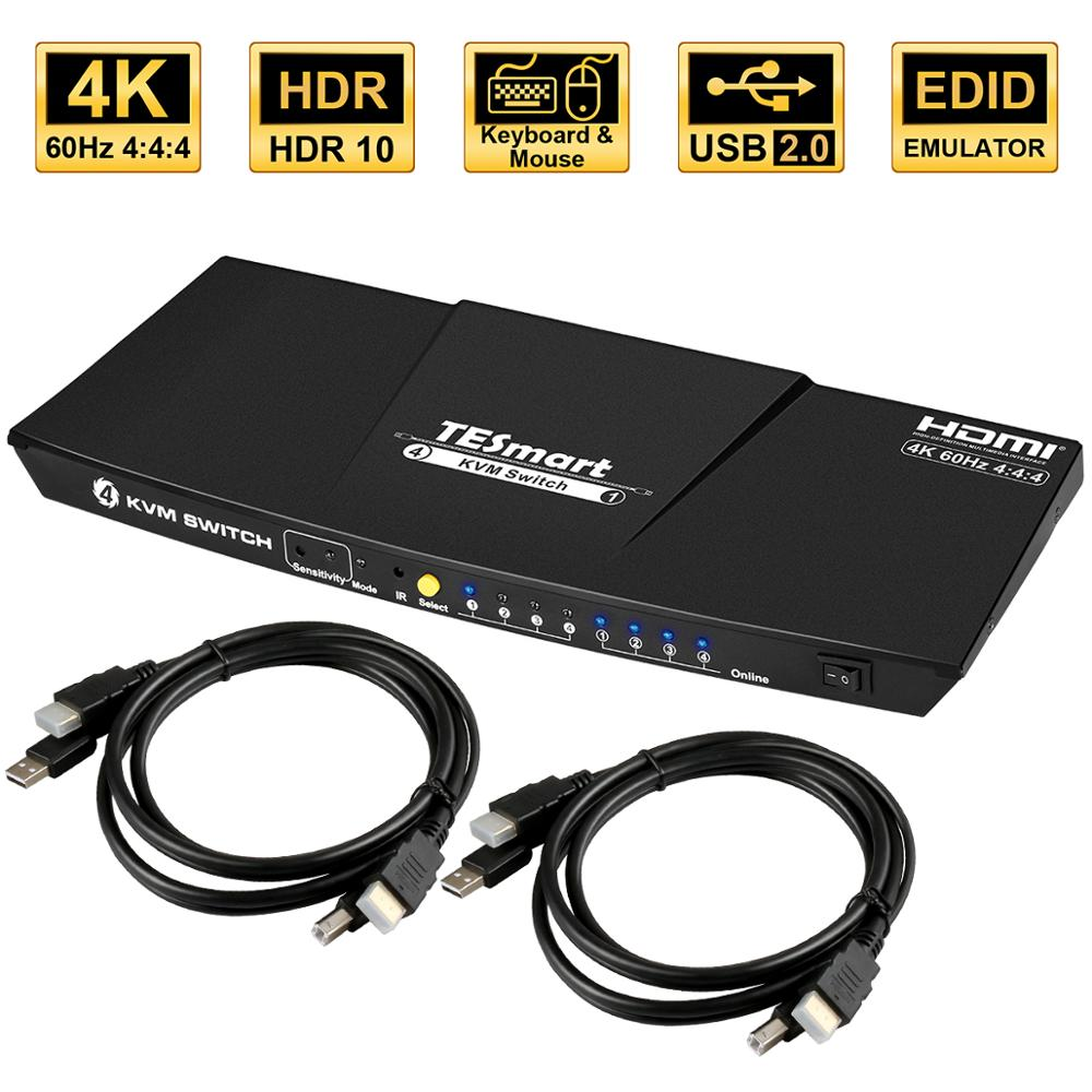 4K 4 Ports KVM Switch Supports USB 2.0 Device Control up to 4 PC 4 Input 1 Output  Support left and right channel analog audio