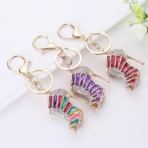 Alloy Key Ring High Heels Keychain Shoes Keychains Rhinestone Crystal Purse Gift Girl Creative Porte Clef Keychain Accessories