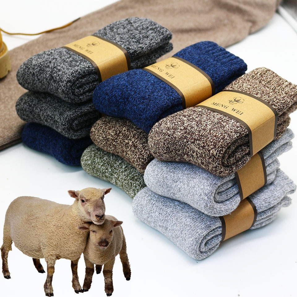 Winter Men's Super Thick Warm High Quality Harajuku Retro Snow Casual Antifreeze Wool Socks 3 Pair
