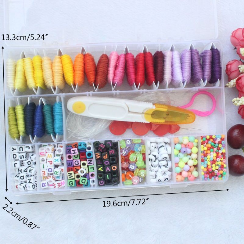 28 Multicolor Embroidery Floss String Kit Bracelet Making Beads Kit for Friendship Jewelry