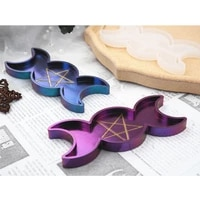 handmade moon star candle tray resin molds moon phase box molds triple goddess with pentagrams mold jewelry making tools