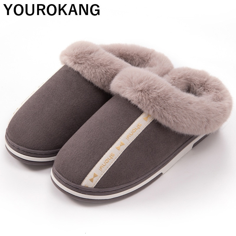 2019 Winter Warm Home Slippers Men Indoor Bedroom Floor Plush Shoes Couple Cotton Slipper Furry Soft Lovers Household Footwear