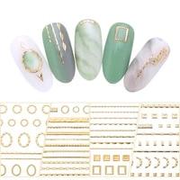 1pc gold 3d nail sticker lines strip geometric heart self adhesive nail art transfer stickers decoration diy design manicure