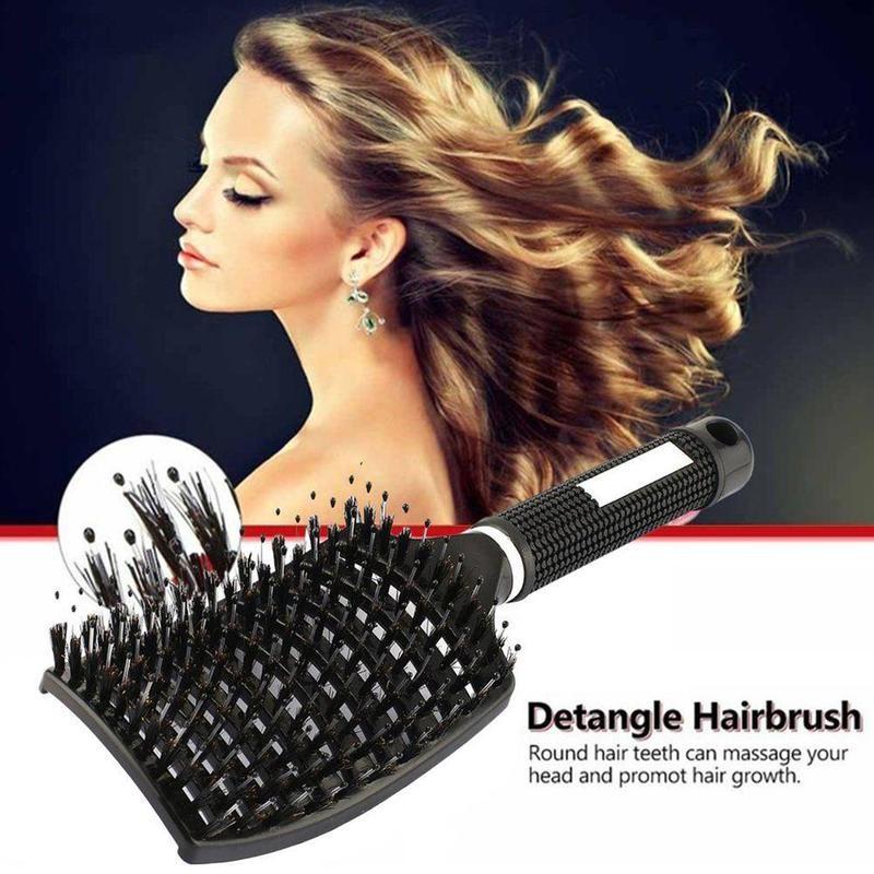 Brosse demelante cheveux crepus Hairdressing Head Massage Haarborst brushie Bristle Combs Brushes Comb Brush Boar For Hair P4H5