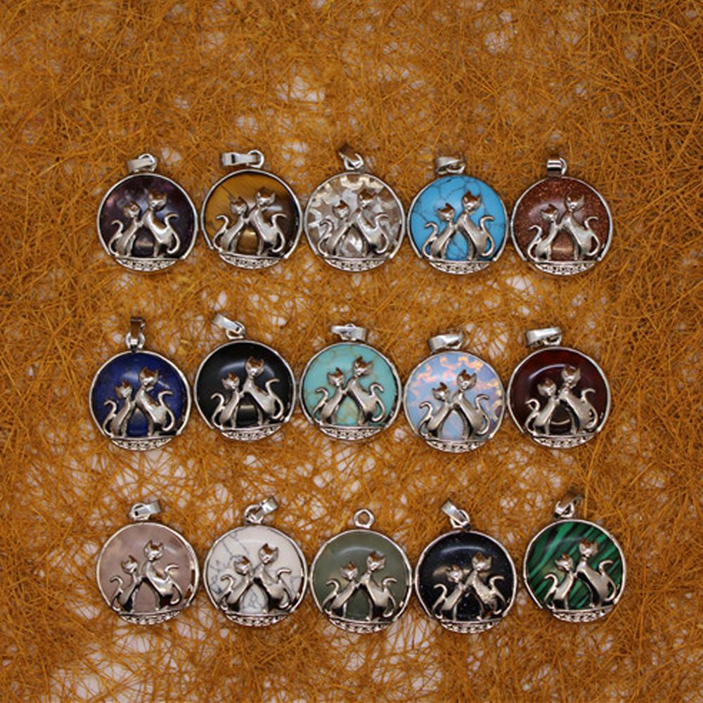 12 pçs pedra natural ágata pingente colar de raposa azul turquesa meditação quartzo tratar cristal charme para fazer jóias livre