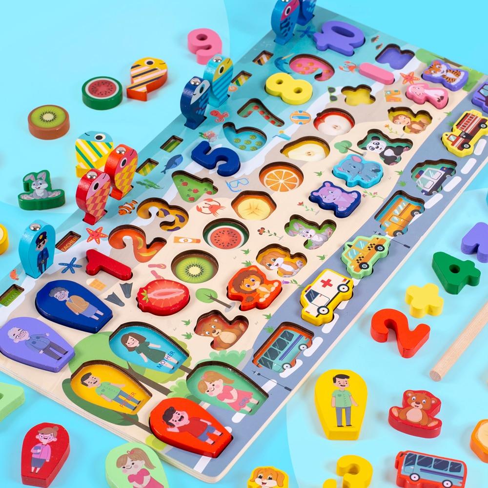 3D Wooden Montessori Preschool Children educational toys arithmetic magnetic fishing digital shape matching building block toys