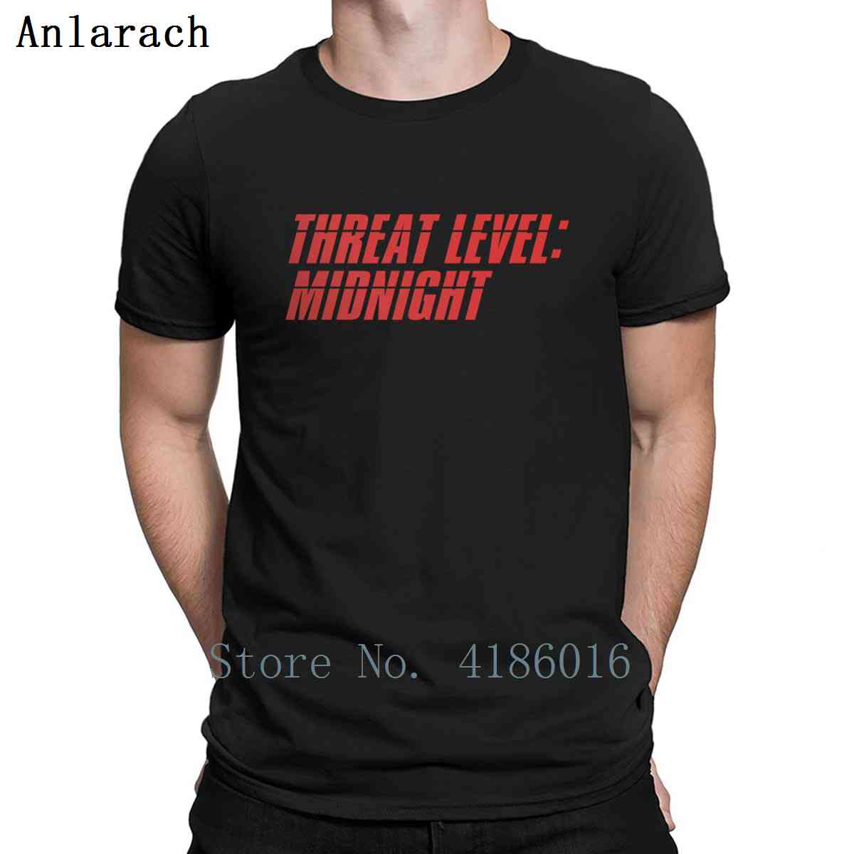Camiseta de manga corta Cool Original de Humor de primavera antiarrugas con cuello redondo y estampado de Threat Level Midnight The Office