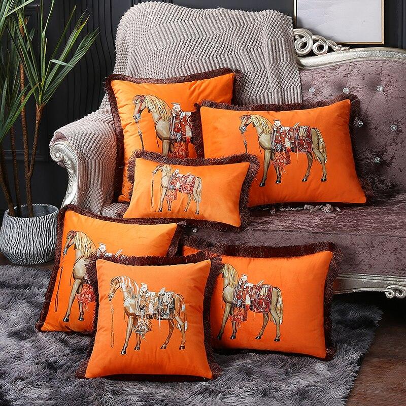 European American luxury printed cushion cover horse pattern velvet pillowcase lumbar pillow cover tassel edge