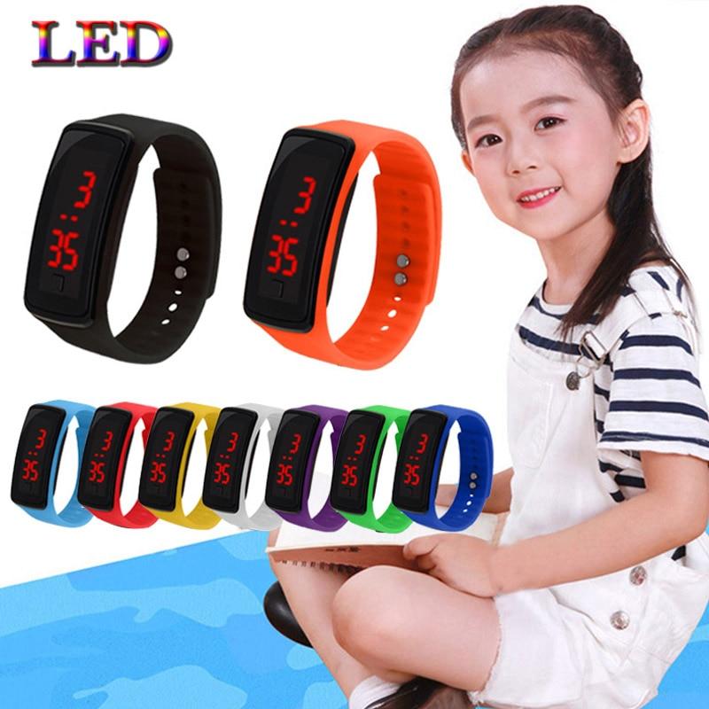 5 pieces children's watch LED sports children's watch men and women PU electronic digital clock bracelet watch boy and girl fast