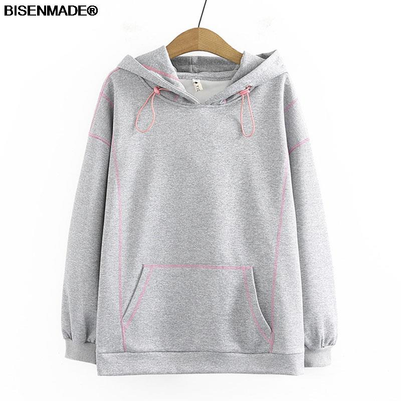 Women Clothing Sweatshirts Plus Size 2021 Autumn Winter Hoodies New Casual Loose Bright Line Decoration Hooded Tops
