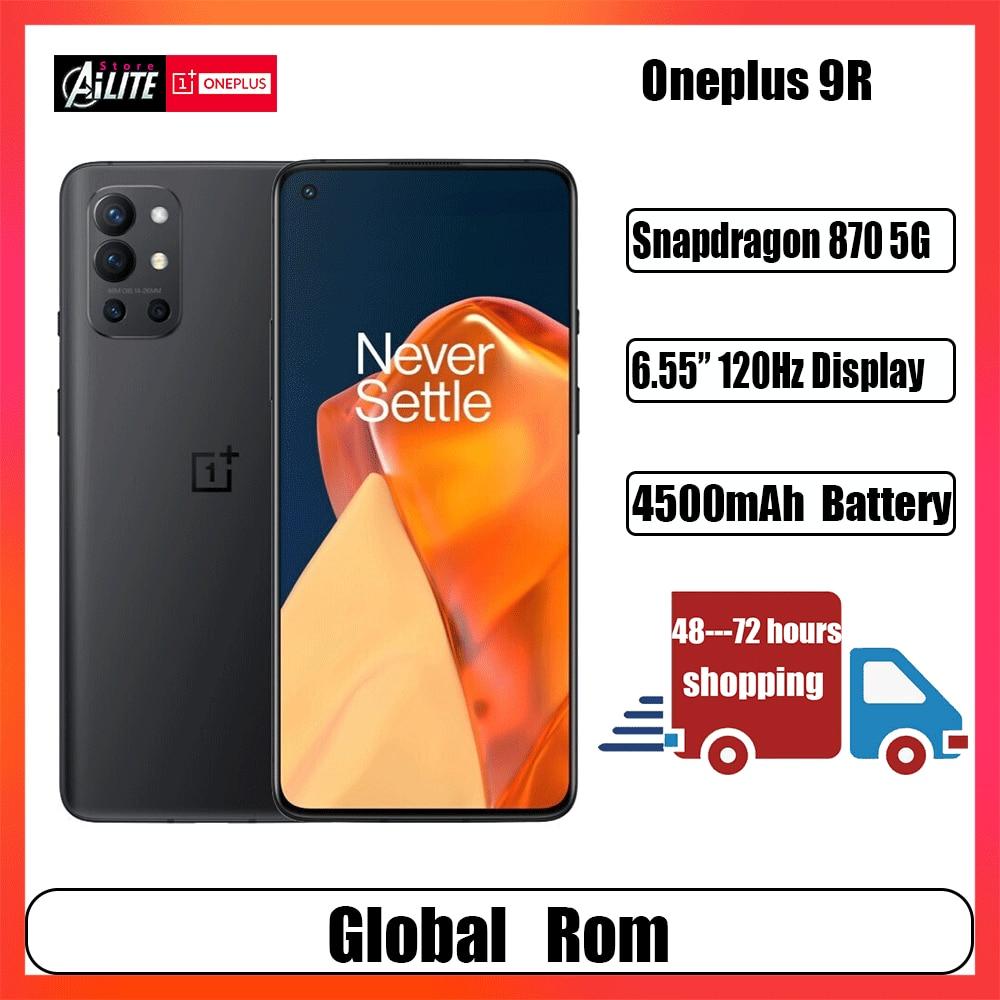 Глобальная прошивка OnePlus 9R 5G мобильных телефона Snapdragon 870 смартфон 120 Гц активно-матричные осид, Дисплей 4500 мА/ч, 65 Вт Супер заряда 48MP сзади Кам...
