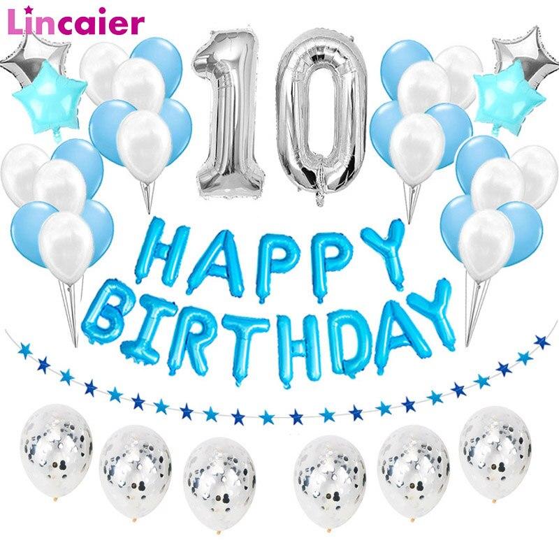 38 pièces numéro 10 ballons en aluminium 10 ans joyeux anniversaire fête décorations dixième 10th garçon fille fournitures dix anniversaire