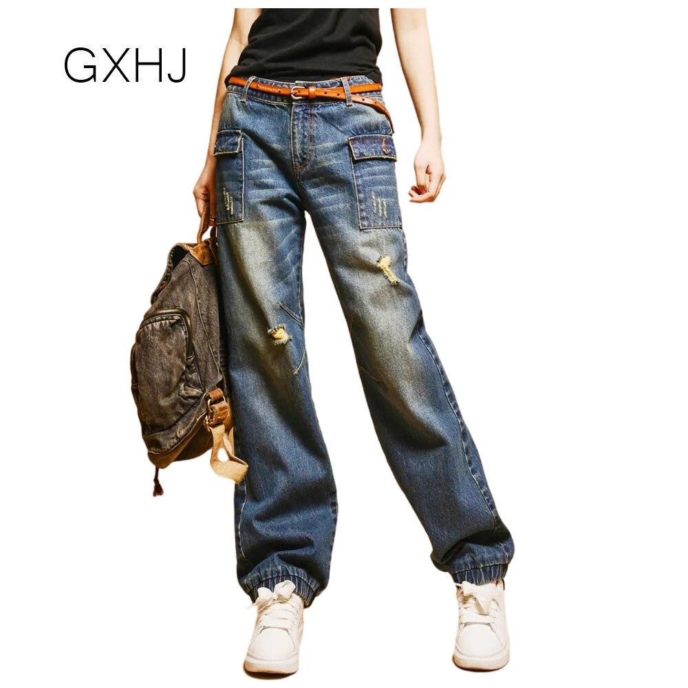 2021 جديد إمرأة جان بانت السيدات عادية الدينيم سراويل تقليدية خمر الأزرق calça الجينز الأنثوية فضفاض بنطلون جينز مريح